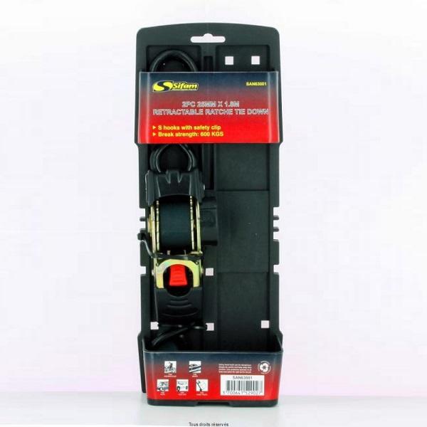 SET 2 CHINGI CU CLICKET, RETRACTABILE (25mm X 1.8M, 600KG)